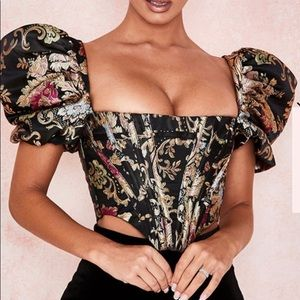 House of CB Brocade Jacquard Puff Sleeve Bustier